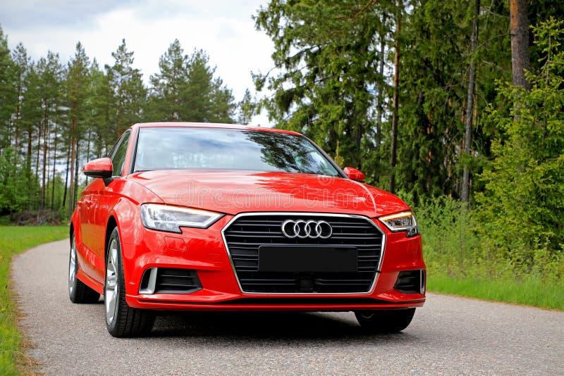 De nieuwe Rode Sedan 2017 van Audi A3 royalty-vrije stock afbeelding