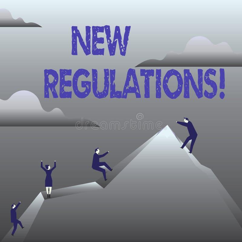 De Nieuwe Verordeningen van de handschrifttekst Concept die Verandering van Collectieve de Normenspecificaties van Wettenregels b royalty-vrije illustratie