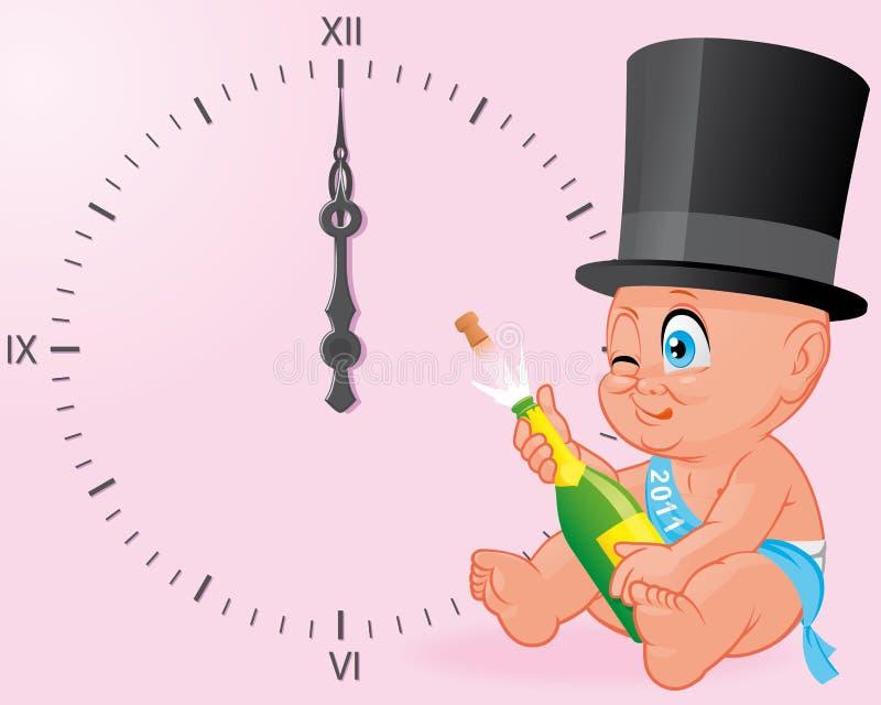 De nieuwe viering van de jaarbaby royalty-vrije illustratie