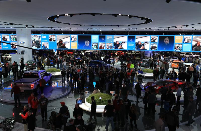 De nieuwe voertuigen van Ford van 2018 op Vertoning bij Noordamerikaanse Internationale Auto tonen royalty-vrije stock foto's