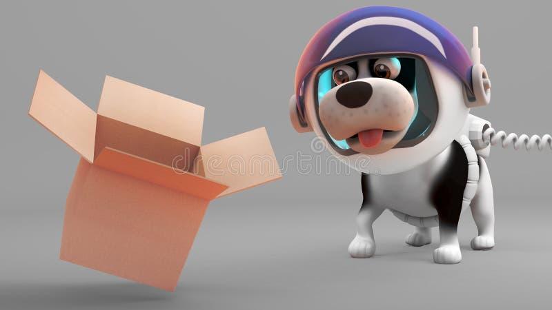 De nieuwsgierige puppyhond in spacesuit vindt een lege kartondoos, 3d illustratie vector illustratie