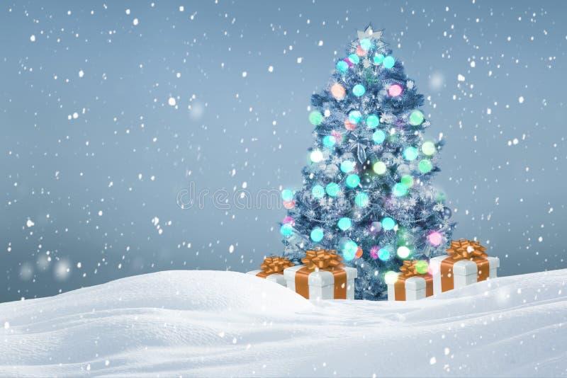 De Noël d'arbre de cadeaux fond dehors photo stock