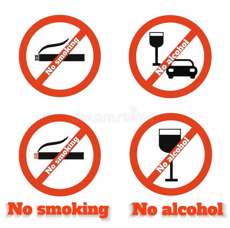 De no fumadores ningún alcohol stock de ilustración