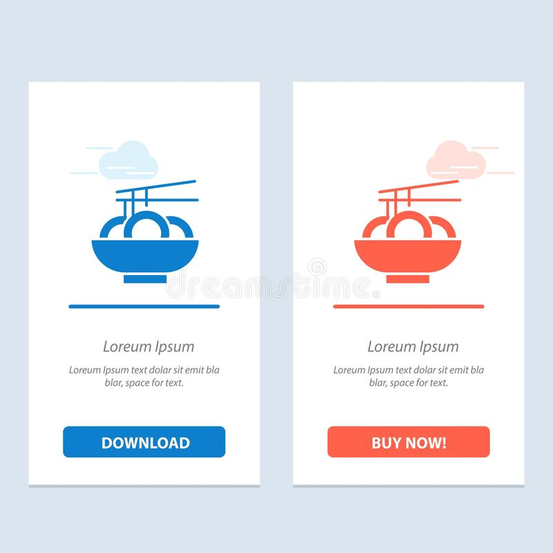 De noedel, het Voedsel, China, de Chinese Blauwe en Rode Download en kopen nu de Kaartmalplaatje van Webwidget stock illustratie