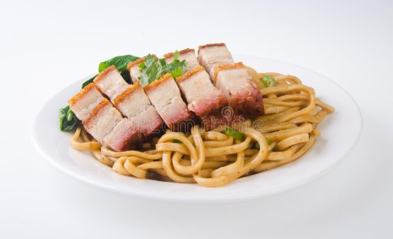 De noedel van het varkensvlees. BBQ varkensvleesnoedel royalty-vrije stock afbeeldingen