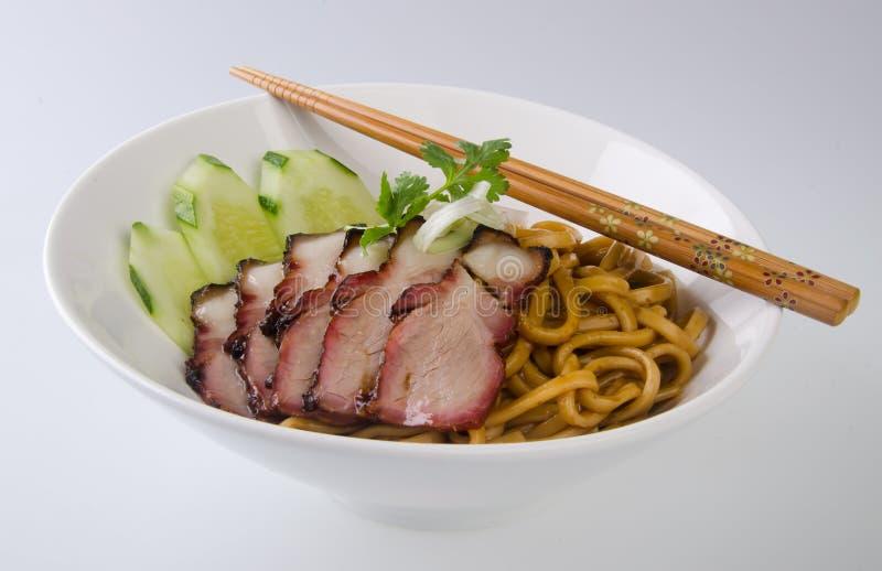 De noedel van het varkensvlees. BBQ varkensvleesnoedel stock afbeelding