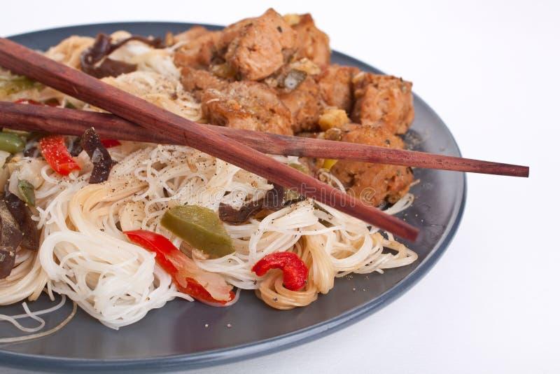 De noedels van de rijst met groenten royalty-vrije stock foto