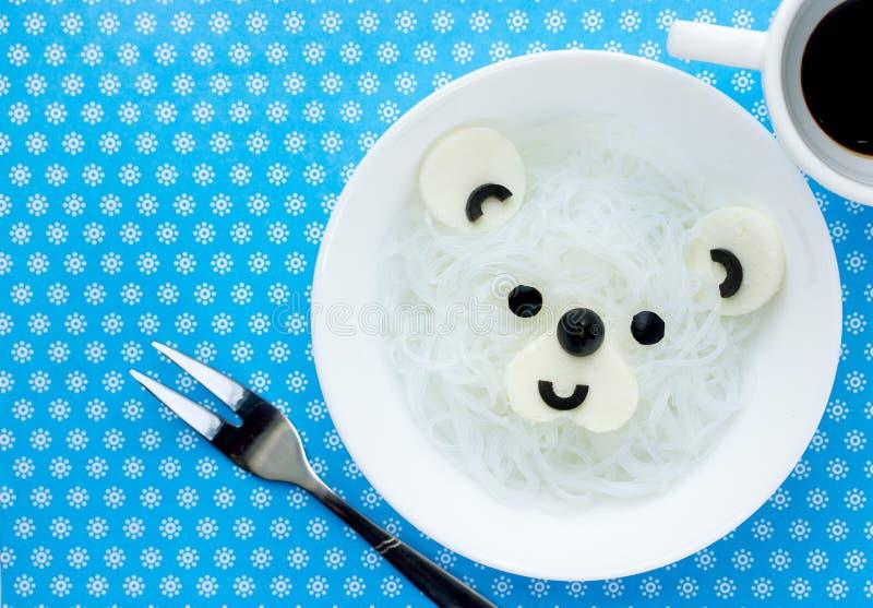 De noedels van de ijsbeer witte rijst stock afbeeldingen