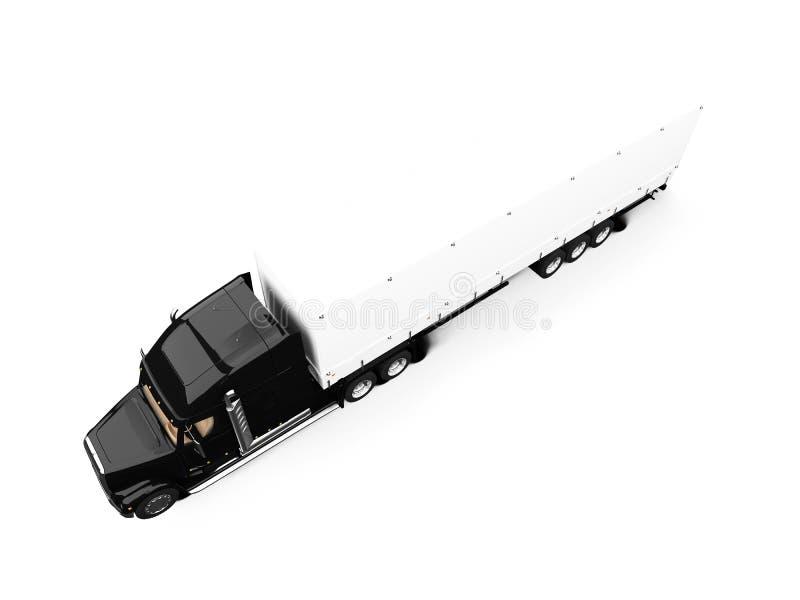 De noir camion semi sur le fond blanc illustration libre de droits
