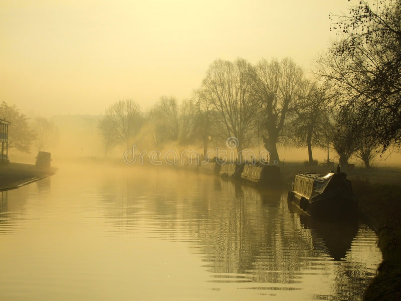 De Nok van de rivier in de winterochtend, Cambridge stock foto's
