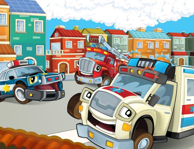 De noodsituatieeenheid - de ziekenwagen, firetruck en de politie stock illustratie