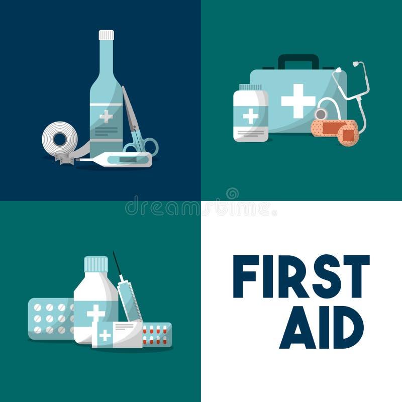De noodsituatieuitrusting van de eerste hulpmedische apparatuur stock illustratie