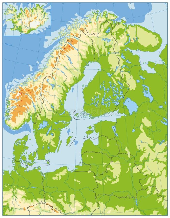 Download De Noordelijke Fysieke Kaart Van Europa GEEN Tekst Vector Illustratie - Illustratie bestaande uit denemarken, geel: 107708671