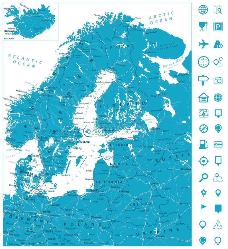 Download De Noordelijke Wegenkaart Van Europa Vector Illustratie - Illustratie bestaande uit apparatuur, gedetailleerd: 107708662