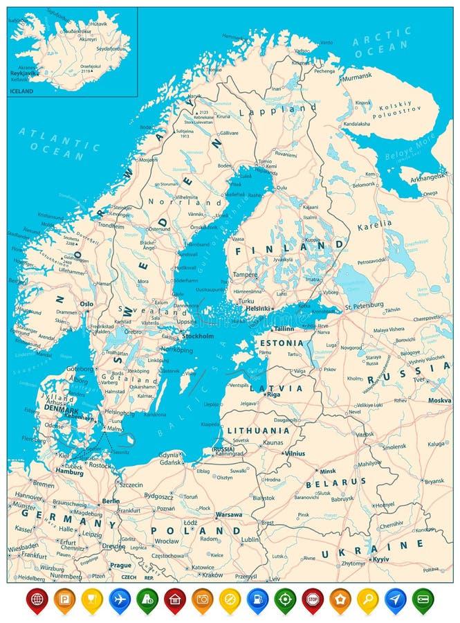 Download De Noordelijke Wegenkaart Van Europa En Kleurrijke Kaartwijzers Vector Illustratie - Illustratie bestaande uit gebied, north: 107708669