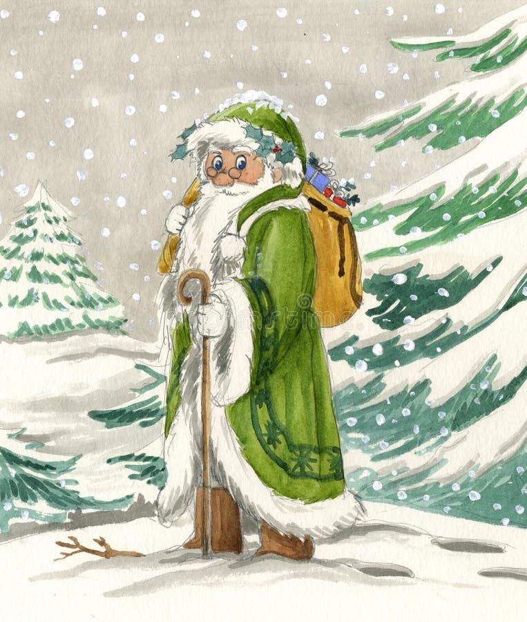 De noordse Kerstman in groene kleding royalty-vrije illustratie