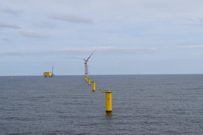 De Noordzee 2019 van het windlandbouwbedrijf stock foto's