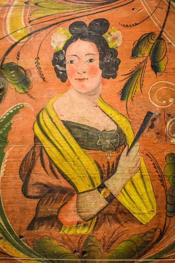 De Noorse Kunst van de Hoopborst met Rosemaling royalty-vrije stock afbeelding