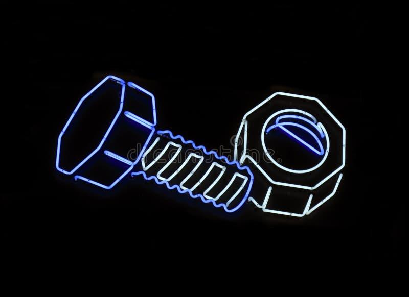 De noot van het neon en bout gestalte gegeven teken royalty-vrije stock foto's