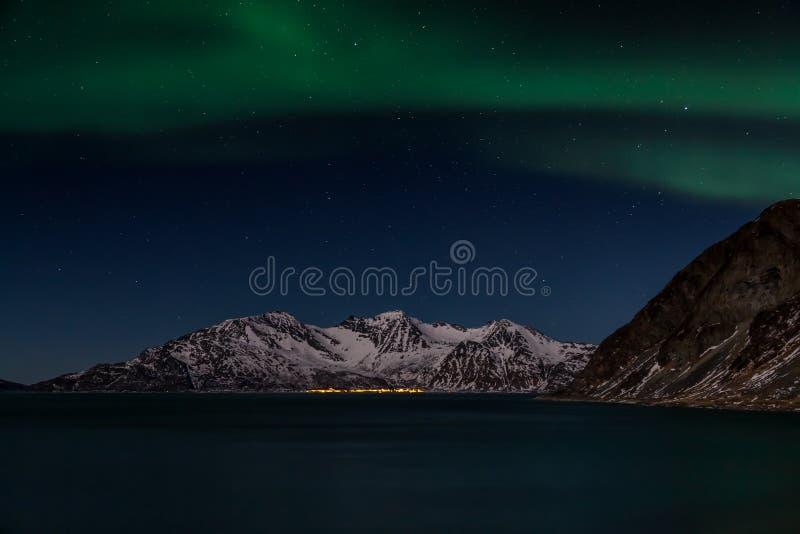 De nordliga ljusen över bergen och havet royaltyfri foto