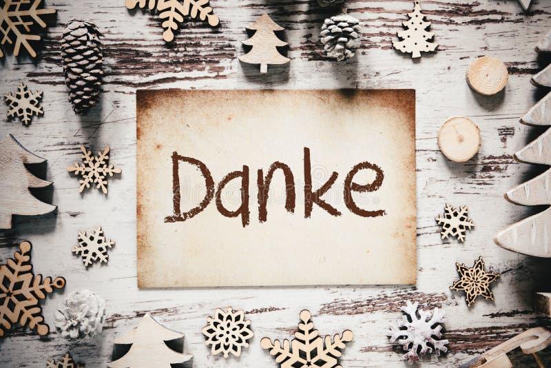 De nostalgische Kerstmisdecoratie, Document, Danke-Middelen dankt u royalty-vrije stock afbeeldingen