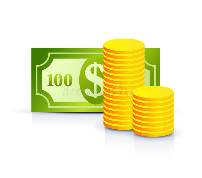 De nota en de muntstukken van de dollar vector illustratie