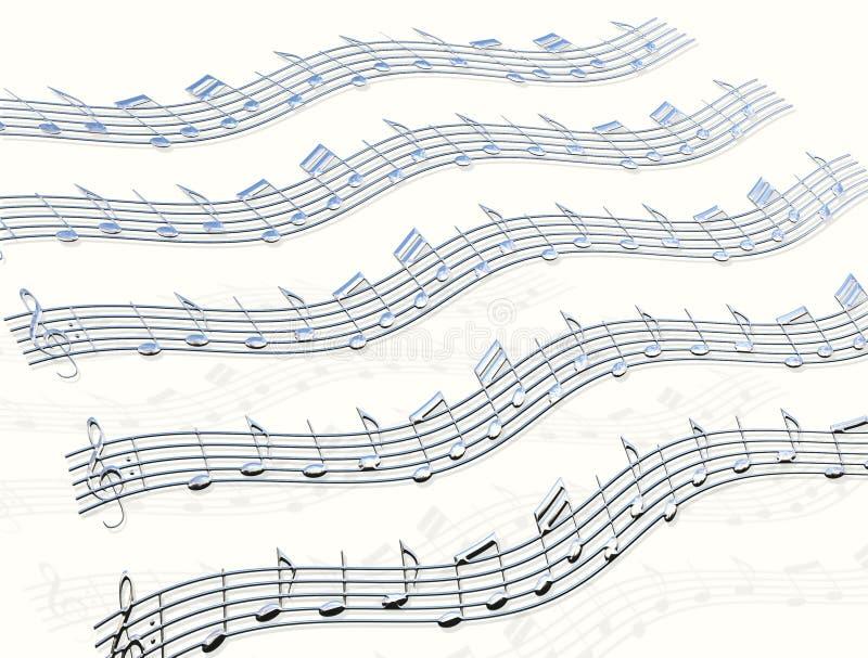 De Nota's & de Staaf van de Muziek van het chroom royalty-vrije illustratie
