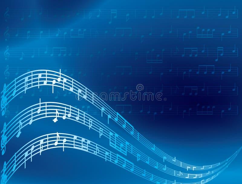 De nota's van de muziek - blauwe abstracte achtergrond royalty-vrije illustratie