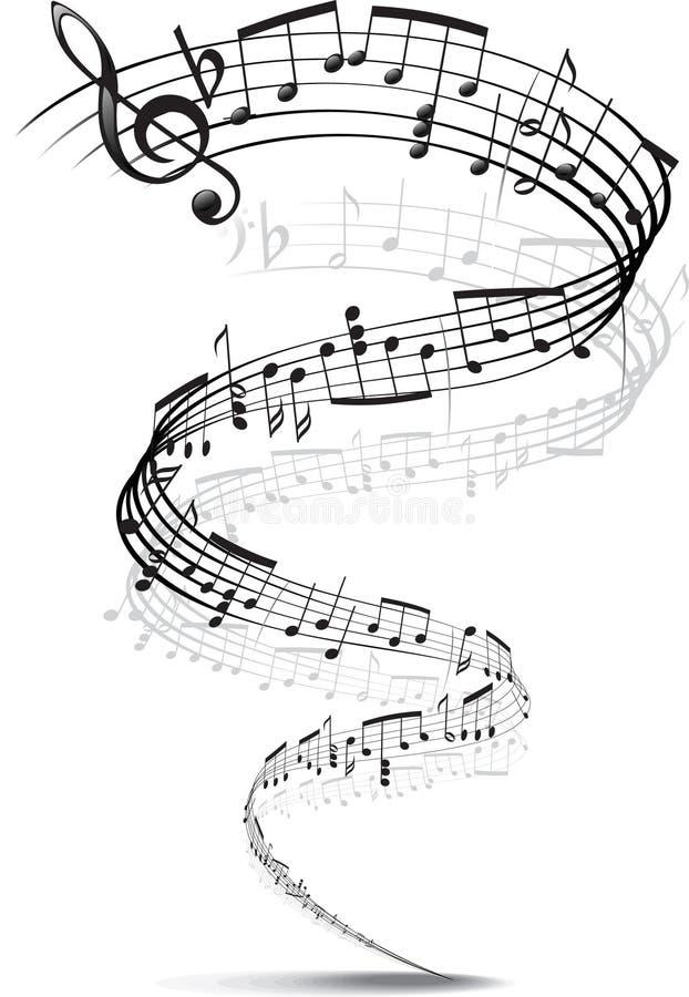 De nota's van de muziek die in een spiraal worden verdraaid stock illustratie