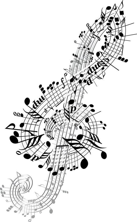 De nota's van de muziek die in Sleutel worden verdraaid vector illustratie