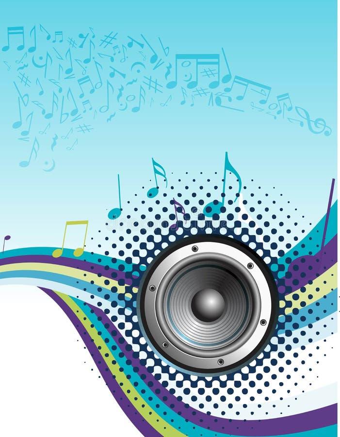 De nota's van de muziek met halftone golf stock illustratie