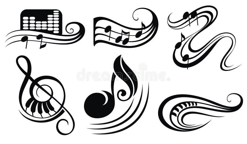 De nota's van de muziek over staven vector illustratie