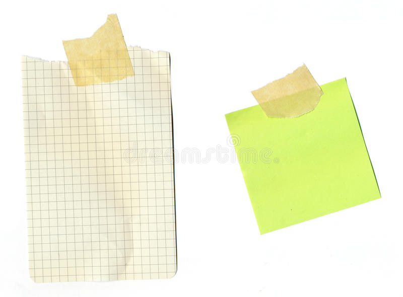 De nota's van de post-it - vastgebonden document royalty-vrije stock afbeeldingen