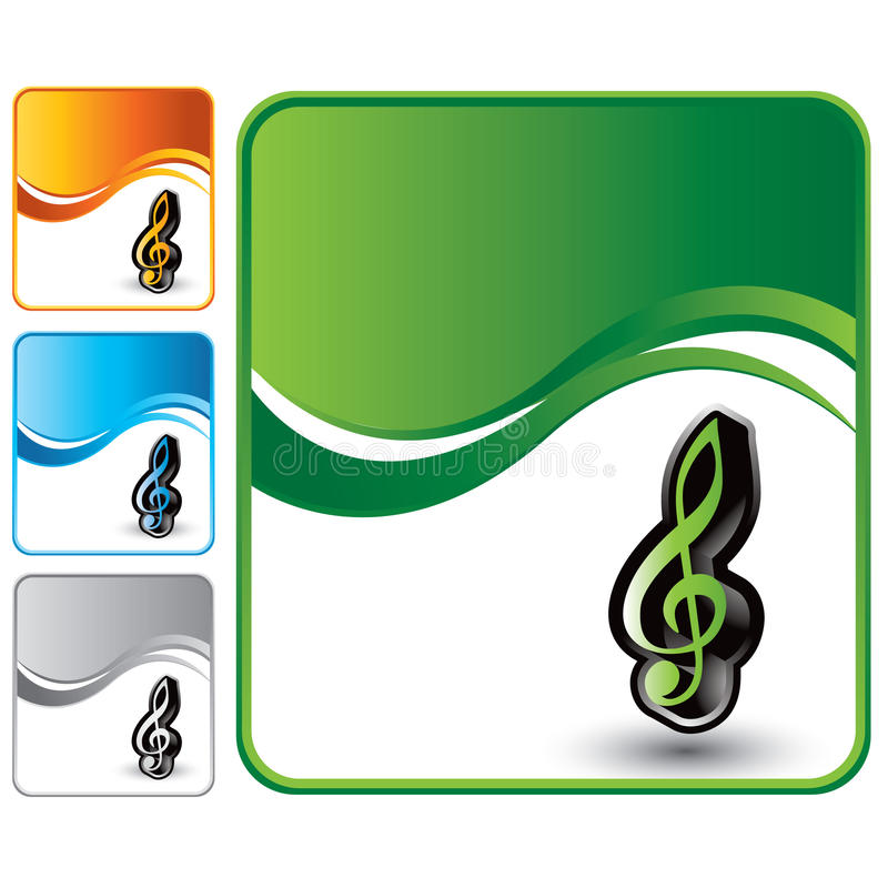De nota van de muziek over groene golfachtergrond stock illustratie