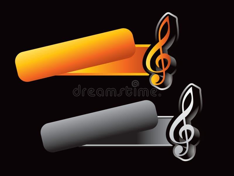 De nota van de muziek over overgehelde banners stock illustratie