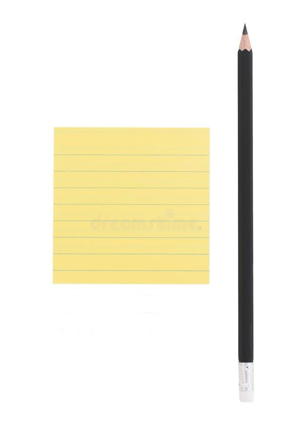 De Nota Van Het Potlood En Van De Post-it Over Witte Achtergrond Stock Foto