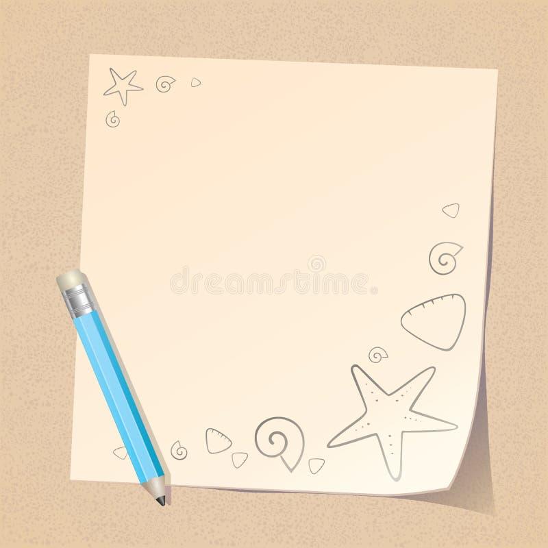 De nota van het potlood en van het Document over Strand stock illustratie