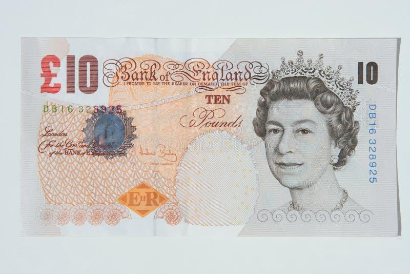 De Nota van tien Pond, Britse Munt royalty-vrije stock fotografie