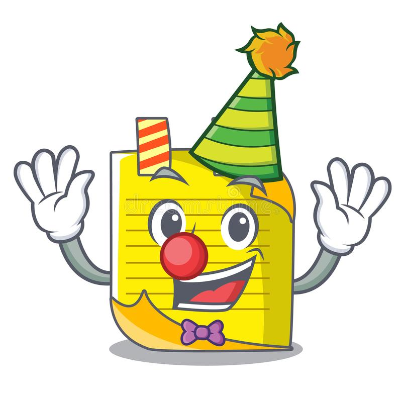 De notadocument van de clownmascotte met referentie royalty-vrije illustratie