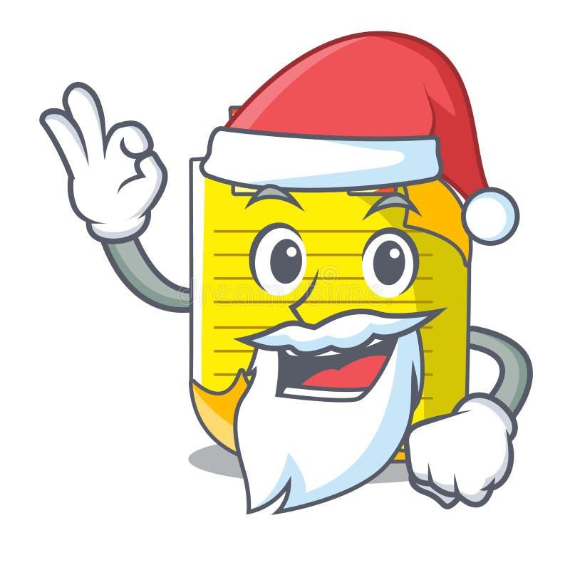 De notadocument van de kerstmanmascotte met referentie vector illustratie