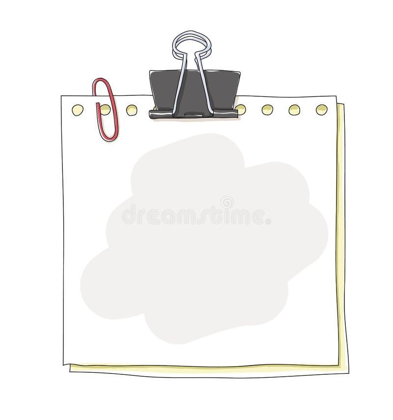 De de notadocumenten en paperclippen overhandigen getrokken kunst schilderend vectorillustratie vector illustratie
