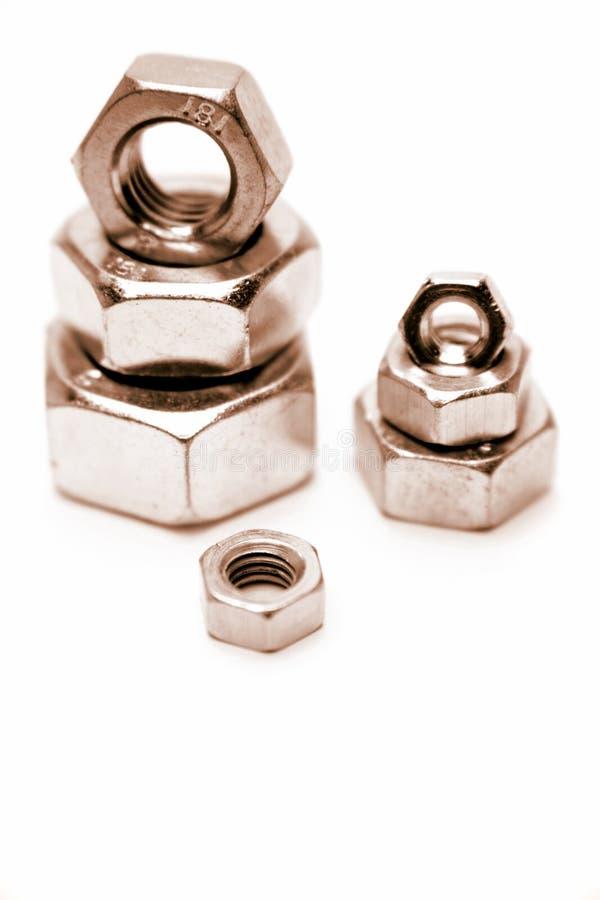 De noten van het metaal stock afbeelding