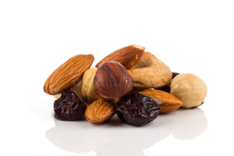 De noten van de mengeling, droge vruchten en druiven stock afbeeldingen