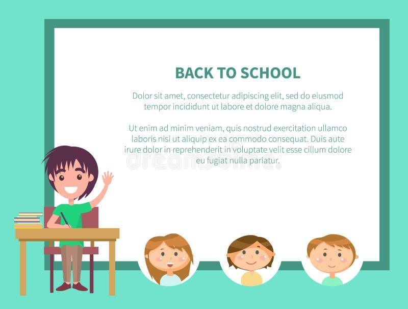 De nouveau à l'école, écolier soulevant l'affiche de main illustration libre de droits