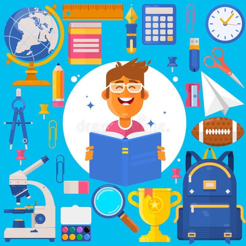 De nouveau à l'école Élève ou étudiant de sac Crayons d'accessoires de formation, stylos, carnets, règle, papeterie, manuels illustration libre de droits