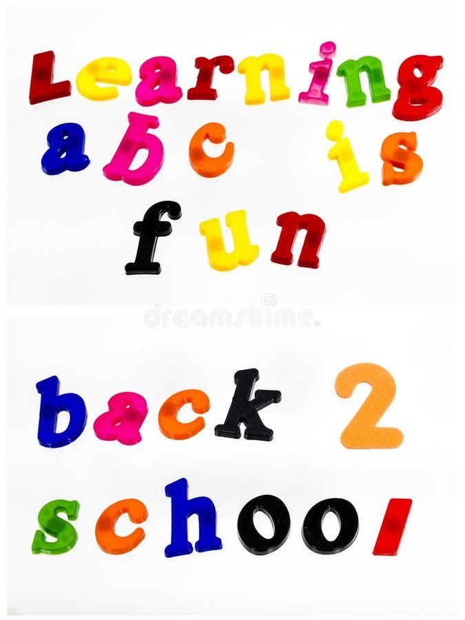 De nouveau à l'école apprenant l'ABC d'amusement photo stock
