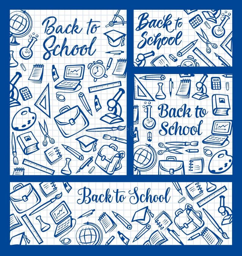 De nouveau à l'école, approvisionnements d'éducation sur le bloc-notes illustration de vecteur