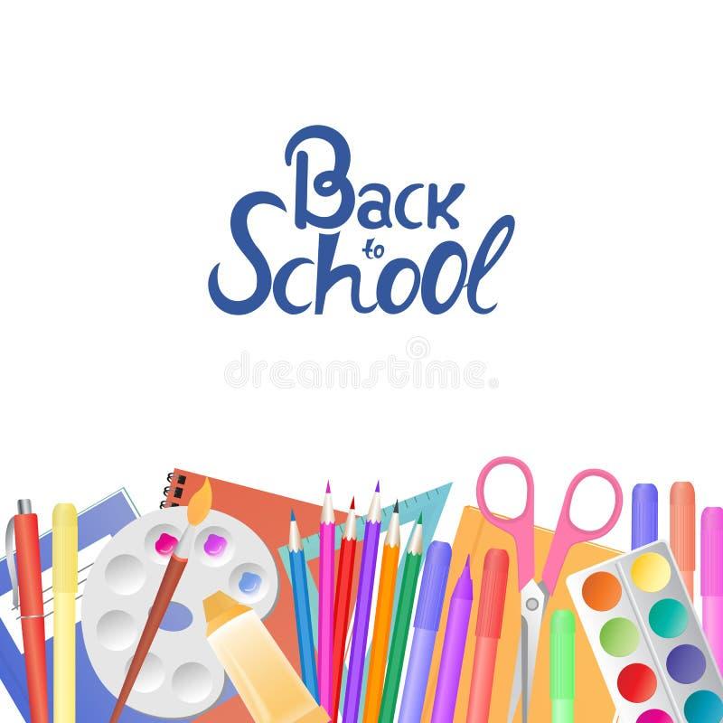 De nouveau à l'école Approvisionnements pour l'enseignement et les enfants créativité du ` s illustration de vecteur
