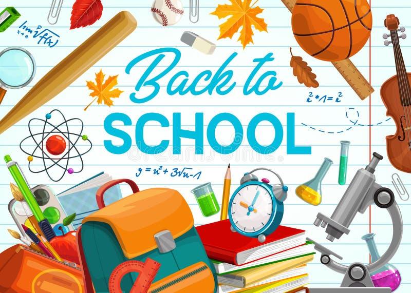 De nouveau à l'école, aux approvisionnements et au carnet d'éducation illustration stock