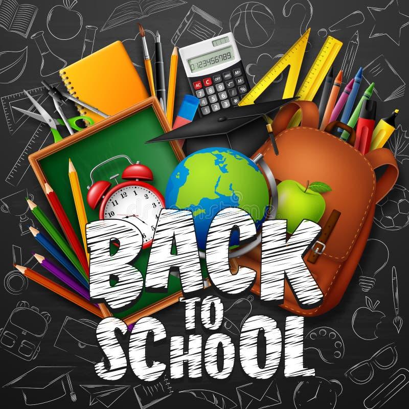 De nouveau à l'école avec des fournitures scolaires et des griffonnages sur le fond noir de tableau illustration stock